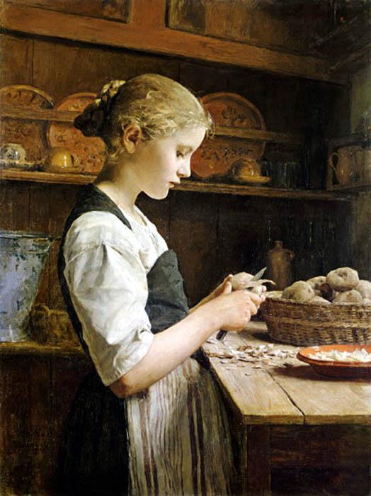 >>>El dia a dia de ayer y de hoy en la pintura>>> Pelando-patatas-ankerb
